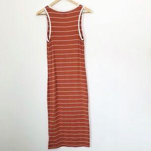 Forever 21 Dresses - F21 Rust + Cream Striped Midi Tank Dress